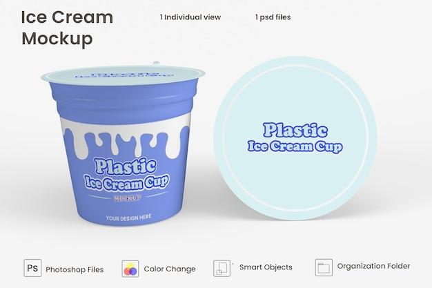 Mockup di confezionamento di barattoli di gelato