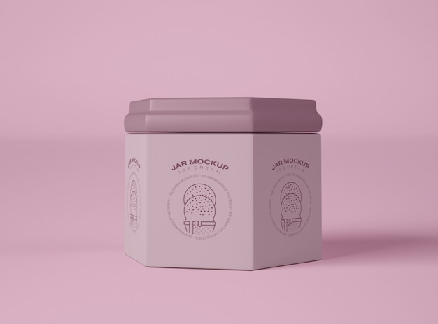 Mockup di imballaggio del barattolo di gelato