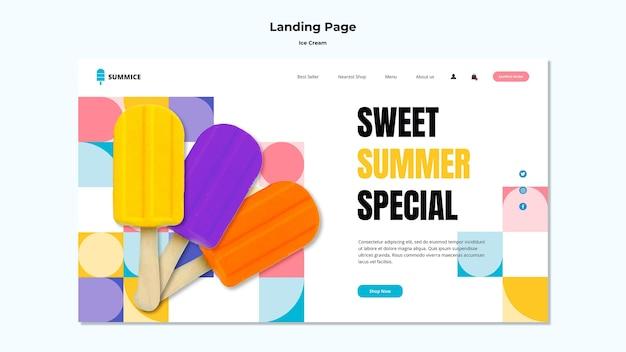 Modello di pagina di destinazione del gelato