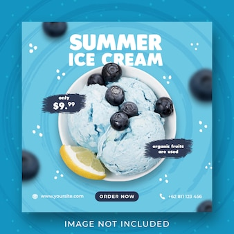 Modello dell'insegna della posta del instagram di promozione del menu del gelato