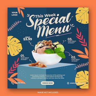 Modello di banner post instagram social media di promozione del menu del gelato