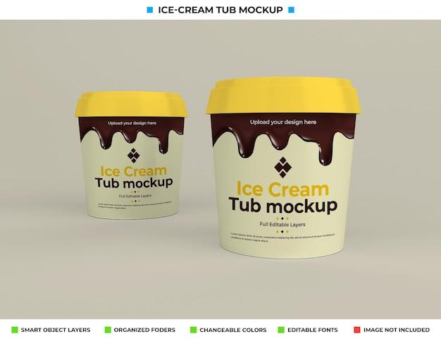 Design mockup vasca gelato nel concetto di cibo