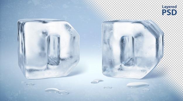 Il cubetto di ghiaccio 3d ha reso la lettera d