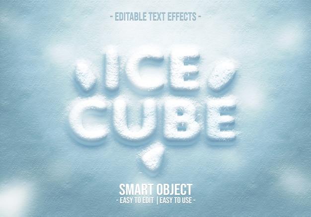 Cubo di ghiaccio in stile testo