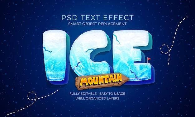 Modello di effetto testo ice mountain