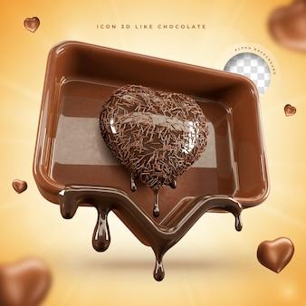 Icona come social media cioccolato pasqua 3d rendering