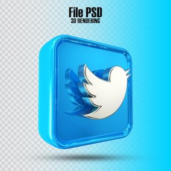Icona twitte 3d rendering