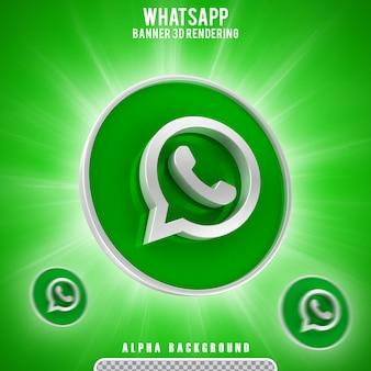 Icona whatsapp logo 3d icona rendering banner