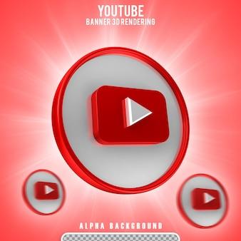 Icona youtube logo isolato design 3d