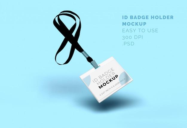 Id badge badge holder mock-up