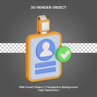Rendering 3d della carta d'identità isolato premium psd