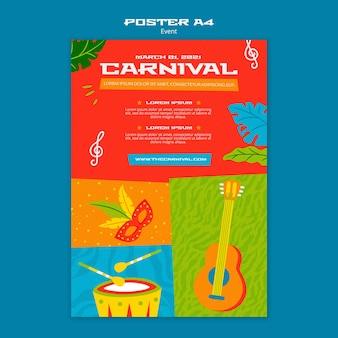 Modello di poster di carnevale illustrato