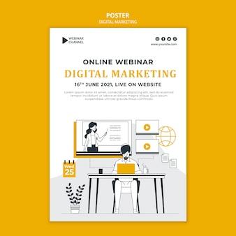 Modello di stampa illustrato di marketing digitale