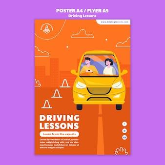 Modello di stampa illustrato della scuola guida
