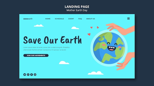 Pagina di destinazione illustrata per la giornata della madre terra