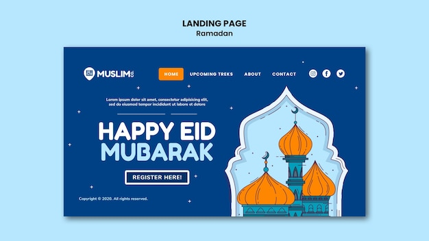 Modello web di ramadan kareem illustrato Psd Premium
