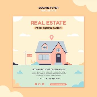 Volantino quadrato illustrato immobiliare
