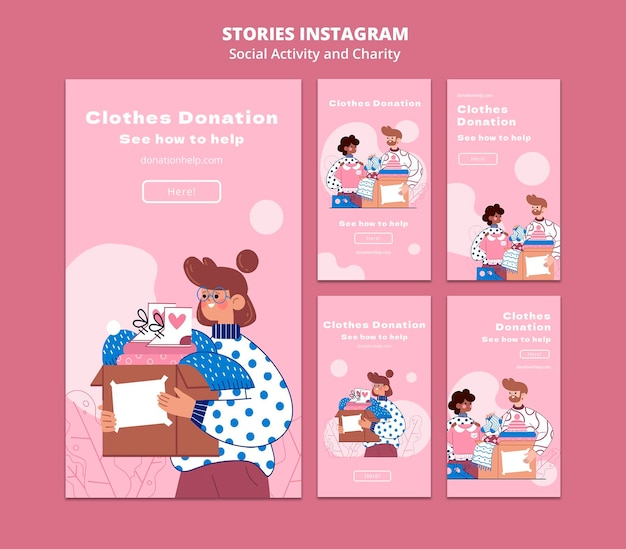 Attività sociali illustrate e storie di instagram di beneficenza