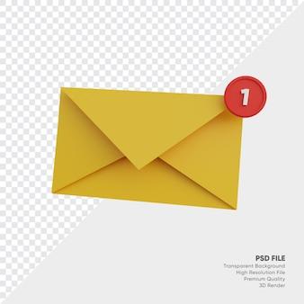 Illustrazione 3d di notifica del messaggio in arrivo