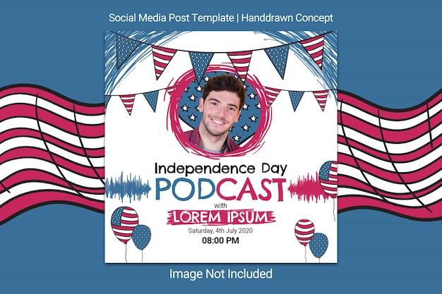 Modello di post sui social media per il giorno dell'indipendenza