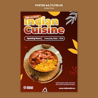 Modello di poster del ristorante di cibo indiano