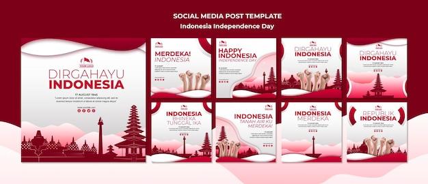 Posta di social media di festa dell'indipendenza dell'indonesia