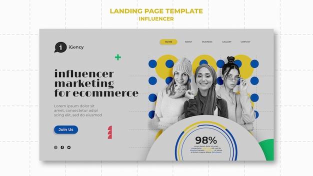 Modello di pagina di destinazione colorato dell'influencer