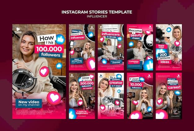 Modello di storie di instagram di influencer con foto