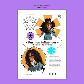 Modello di poster di influencer con foto