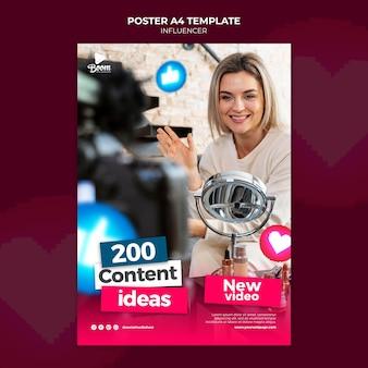 Modello di poster dell'influencer con foto