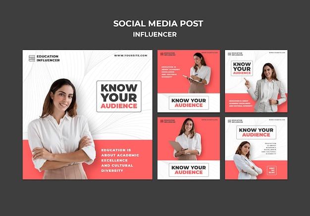 Set di post sui social media dell'influencer Psd Premium