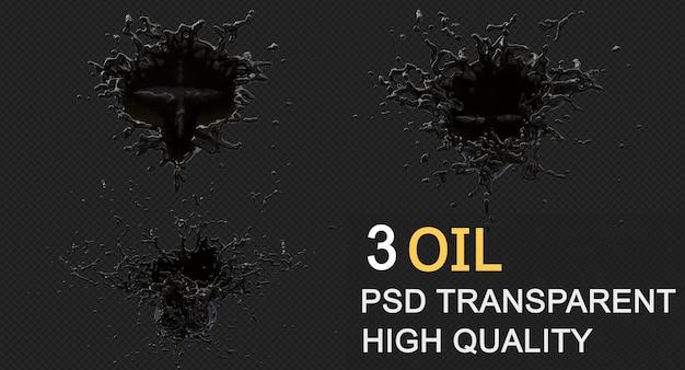 Schizzi di olio di inchiostro nel design isolato rendering 3d