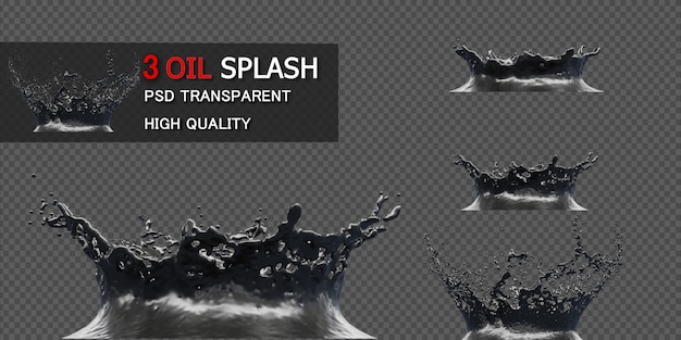 Ink oil splash isolato nell'illustrazione 3d