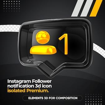 Icona di rendering di destra di notifica follower instagram isolata