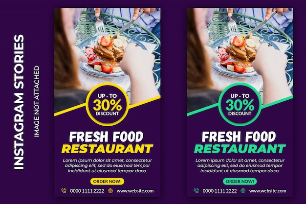 Banner web sociale di instagram food