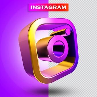 Rendering 3d dell'icona di instagram moderno
