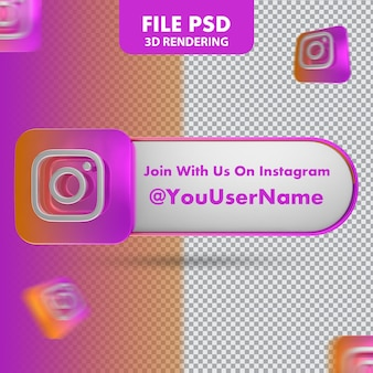 Banner di rendering 3d dell'icona di instagram