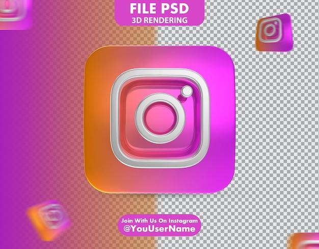 Rendering 3d dell'icona di instagram