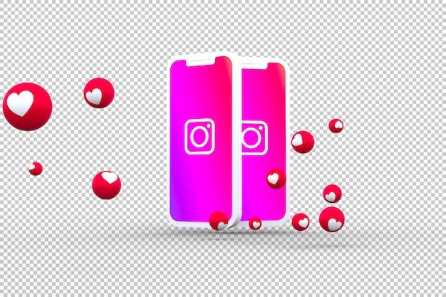 Icona di instagram su schermi di smartphone con emoji