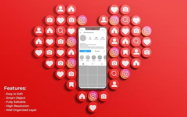 Mockup dell'interfaccia di instagram circondato da like 3d