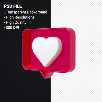 Instagram come icona 3d o facebook amore notifiche emoji rendering 3d isolato