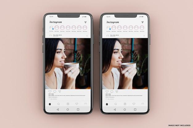 Modello di mockup dell'interfaccia mobile di instagram