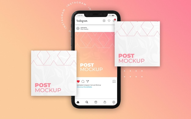 Mockup di instagram di tre post