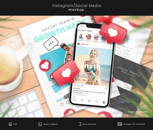Mockup di instagram con mockup del telefono e mockup della copertina del libro