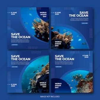 Modello di instagram post bundle world oceans day Psd Premium