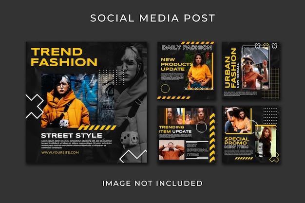 Modello di stile di moda di raccolta di post di instagram
