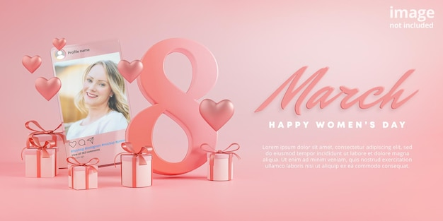Instagram post mockup 8 marzo happy women's day love heart glass