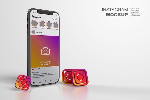 Mockup di post di instagram su smartphone