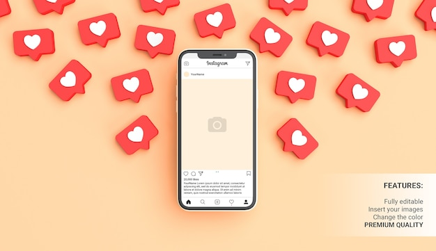 Mockup di post di instagram con telefono circondato da notifiche simili