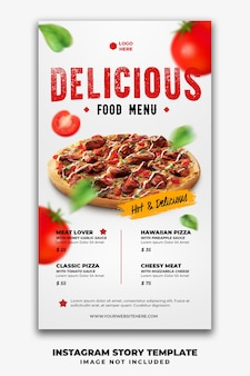 Modello di banner di storie di post di instagram per pizza menu ristorante fast food